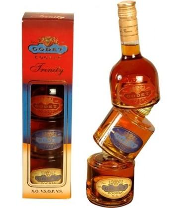 Koňak Godet Trinity Cognac 40% 3x0,2l
